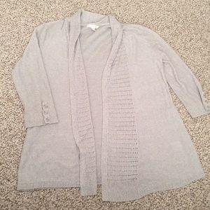 New York & Company Gray 3/4 Sleeves Cardigan